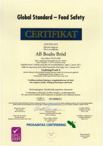 Certifikatl BRC - AB Boalts Bröd Sölvesborg 20151104